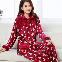 Women Winter Pajamas Flannel Thick Warm Ladies Sleepwear Long Sleeve Autumn Pyjamas Women Coral Fleece Pijamas Mujer