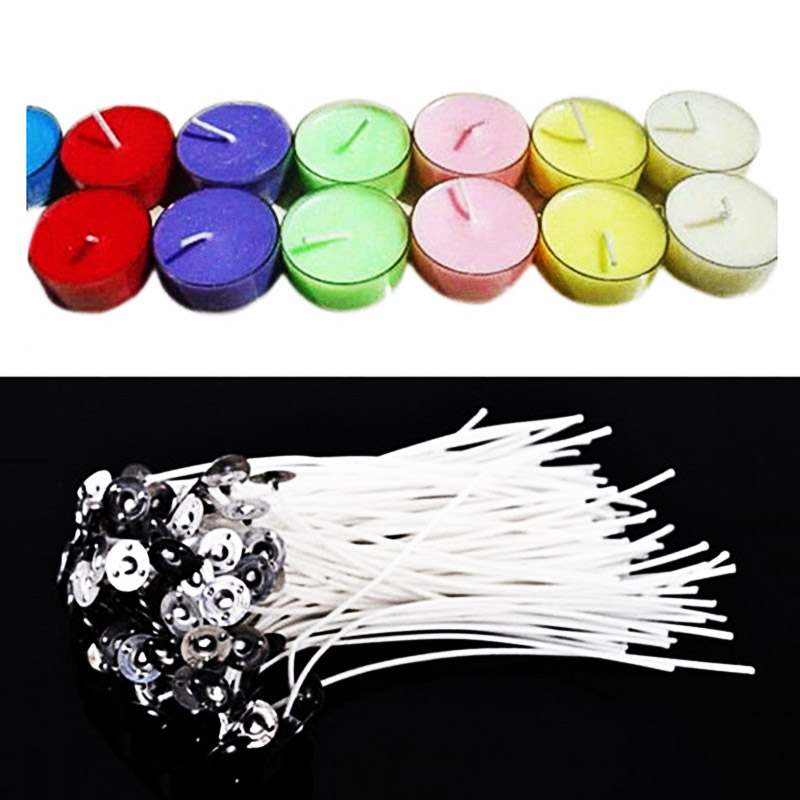 Hot 100pcs High Quality Smokeless Superb Ornate Environmental Candle Core DIY Making Candles Waxed Cotton
