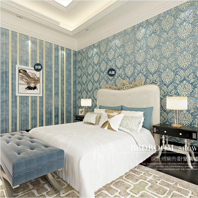 Wholesale AB 3d flocking wall paper blue embossed stripe wallpaper rolls for bedding room 3d Damask wallcovering roll упаковочная бумага shandong linyi wholesale paper 70g