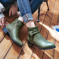 Thebams 2018 New Leather Rivets Booties Buckle Straps Thick Heel ArmyGreen Ankle Boots Studded Decorated Motorcycle woman Boots