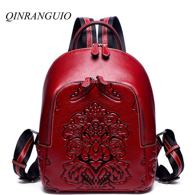 QINRANGUIO Genuine Leather Backpack Women 100 Cow Leather Women Backpack 2019 Chinese Style Backpacks with Flowers
