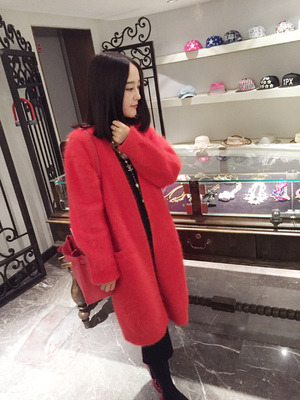 High end mink wool cardigan jackets long hair mink fashion warm font b sweater b font