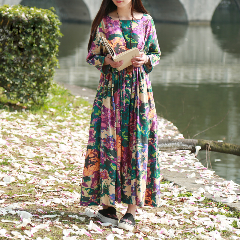 LZJN Vintage Floral Dress Women Spring Autumn Robe Square Collar High Waist with Drawstring Cotton Linen Maxi Dresses 32139