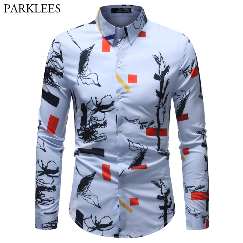 Chinese Ink Painting Print Shirt Men 2018 Brand New Long Sleeeve Casual Dress Shirts Mens Party Holiday Tops Shirt for Men 5XL