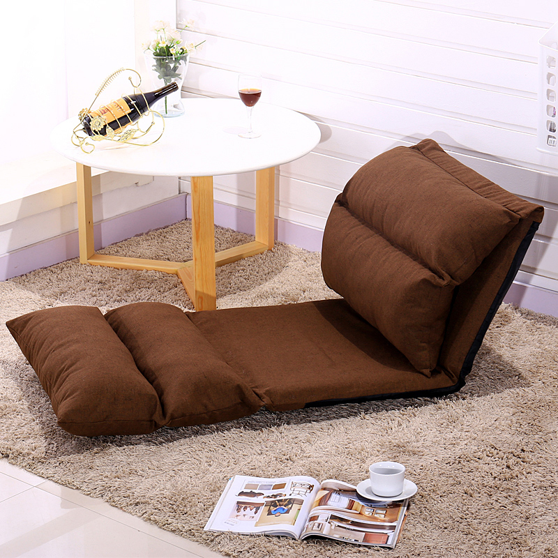 High quality cotton cloth leather sofa single folding tatami bed creative bedroom small sofa chair image