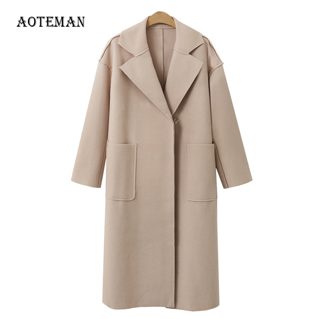 5960dc1937 ... Senhora Do Escritório Manga Longa Mujer Outerwear. FLULU Autumn Winter  Suit Blazer Women 2018 Casual Formal Wool Coat Elegant Work Office Lady Long