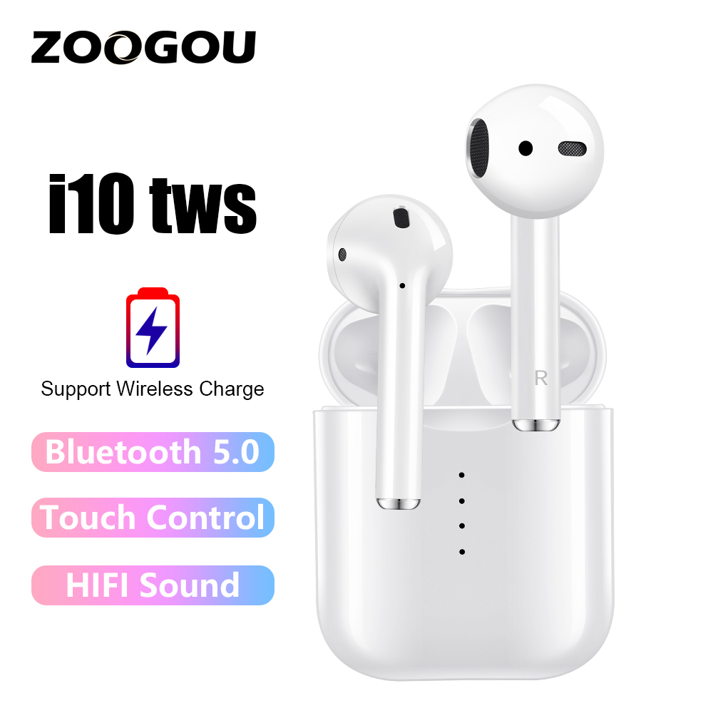 $37.49 ZOOGOU i10 TWS Wireless Touch Bluetooth 5.0 Earphone AirDots Stereo Earbuds Headset With Mic for iPhone Samsung Xiaomi Huawei