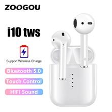Беспроводные наушники i10 TWS с Bluetooth 5.0 с сенсорным управлением от ZOOGOU, стереонаушники-вкладыши AirDots, наушники с микрофоном для iPhone, Samsung, Xiaomi, Huawei