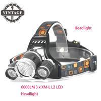Free DHL Fedex 50pcs Lot 6000LM 3 X XM L L2 LED Headlight USB Headlamp 3