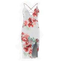 EAS-Women's Summer Sexy Floral Print Bodycon Bandage Dress Spaghetti Strap Side Split Backless Sundress Club Beach Dresses