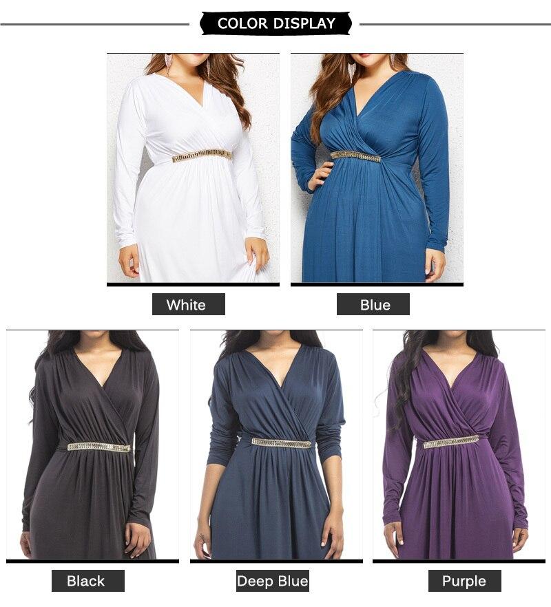 eb51df358f Dinminsta Women New Spring Long Sleeve Plus Size Maxi Frocks Female Elegant  Vintage Casual V Neck Tunic Draped Dress With Sashes