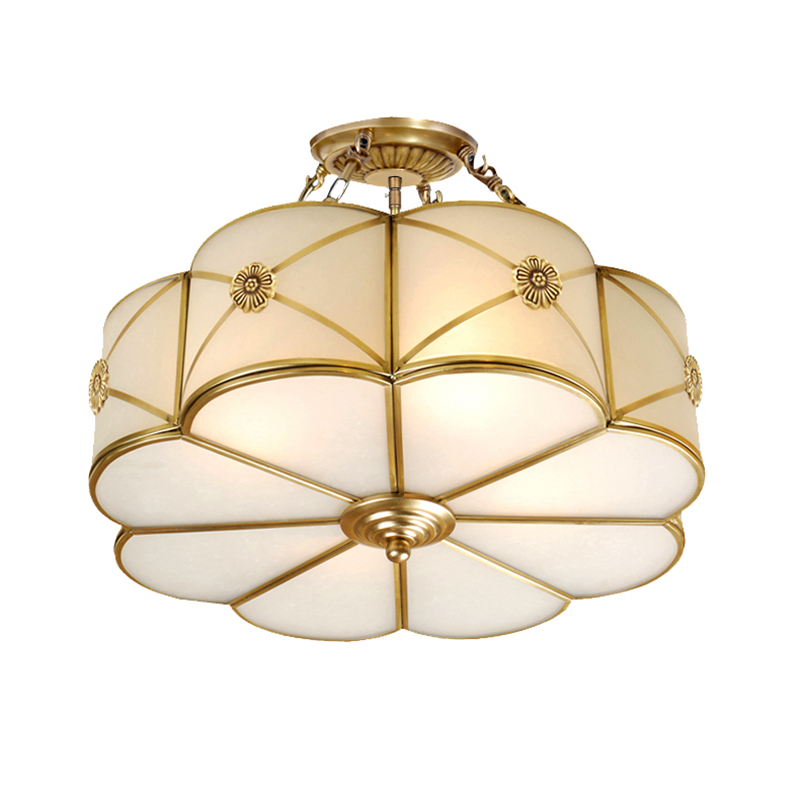 America Style copper LED Ceiling hanging Lamp glass Toolery Bedroom Living Room Home Restaurant Cafe Decoration boutiques light