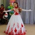 2015 new flower girl dresses for weddings white red lace appliques pageant dresses for little girls  tull  floor length