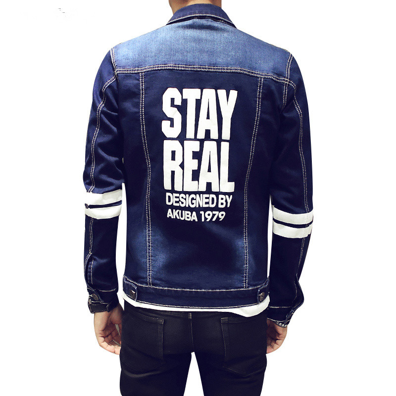 denim jacket men letter printed 2016 new spring fashion design sweatshirt men jeans jackets slim fit