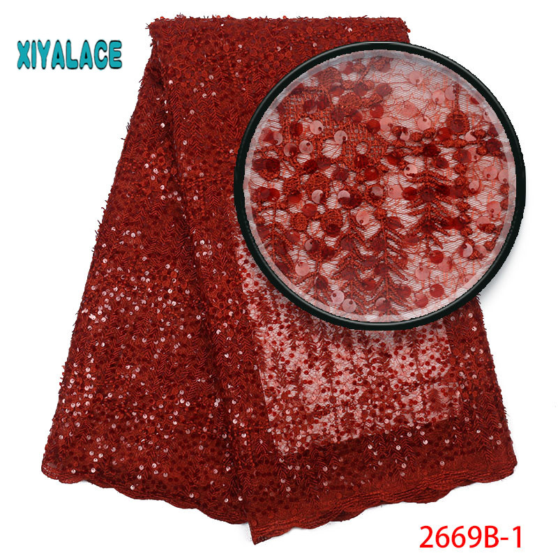 Handmade Lace Nigerian Beaded Lace Fabrics African French Lace Fabric 2019 High Quality Lace Tulle For Party Dress YA2669B-1