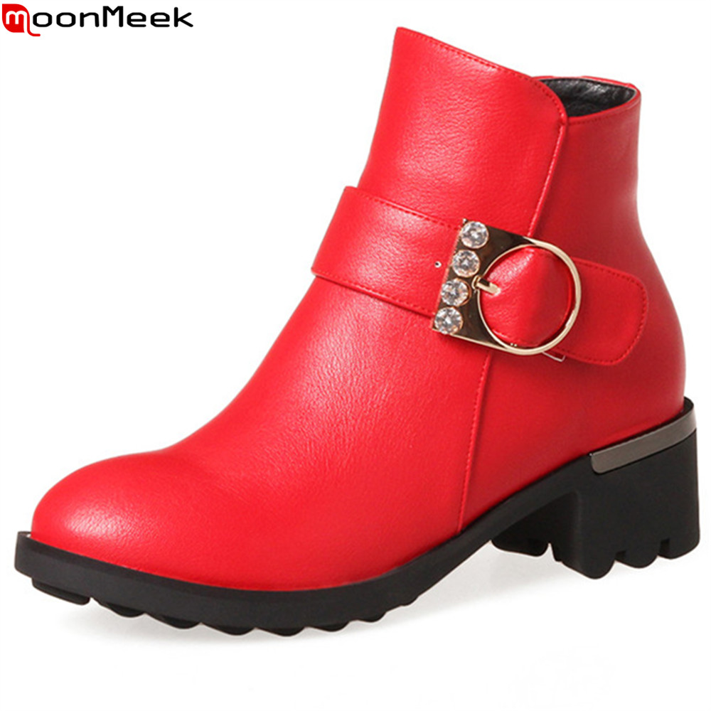 MoonMeek fashion hot sale new women boots square heel ladies boots black red gray zipper buckle ankle boots big size33-43 armoire hot sales black yellow red brown gray flats women slouch ankle boots solid ladies winter nude shoes aa 3 nubuck