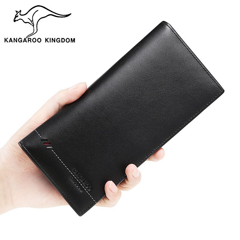 KANGAROO KINGDOM fashion men wallets genuine leather business male long slim bifold wallet card holder purse men s new pattern slim wallet male portfolios thin money pouch small business card holder soft leather bifold purse for men
