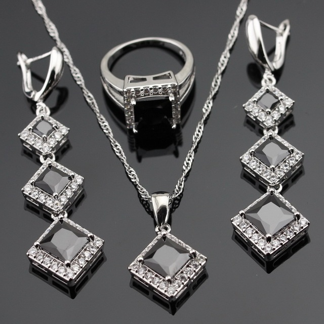 Christmas Silver Color Jewelry Sets For Women AAA Black White Cubic Zirconia Necklace Pendant Rings Earrings Free Gift Box
