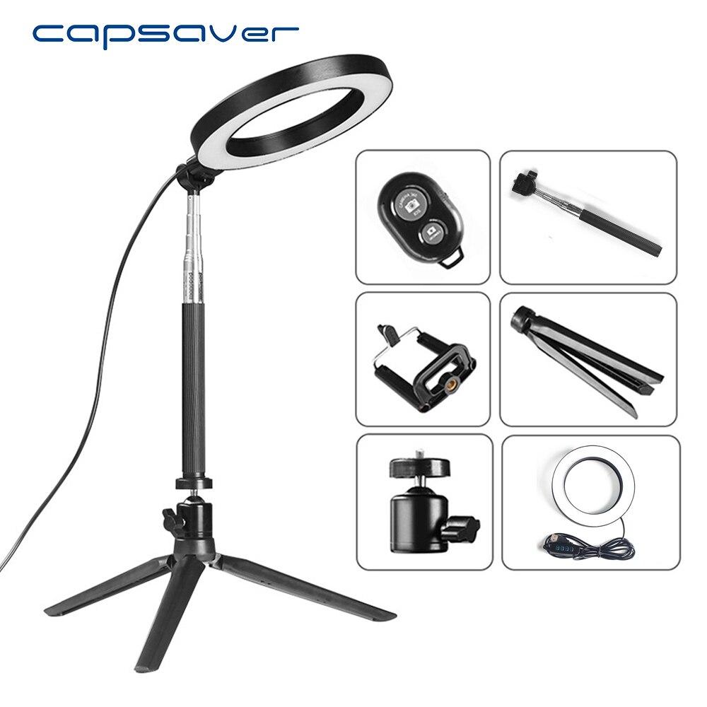 Capsaver 8 pulgadas Mini LED anillo de Luz Portátil lámpara Circular 64 LED 3200 K/5500 K CRI90 Luz de vídeo para YouTube foto disparar