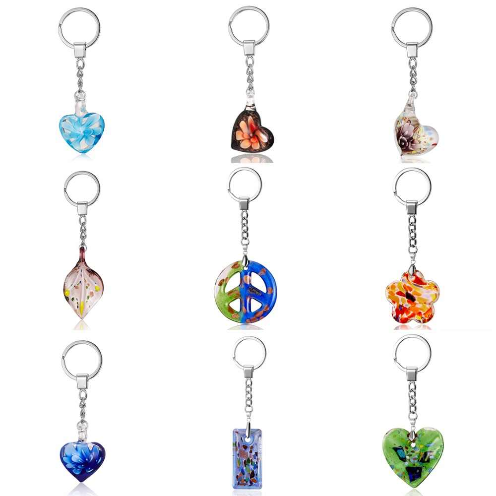 Rinhoo DIY Trendy Colorful Heart Flower Glass Pendent Keychain Simple Pendent Key Chain Alloy Bag Keychain Fashion Jewelry Gifts