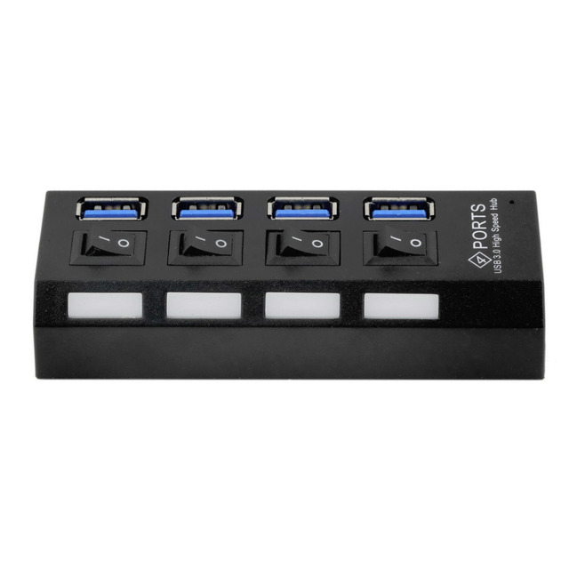USB 3.0 Hub 4 Ports Speed 5Gbps for PC Laptop With on/off Switch
