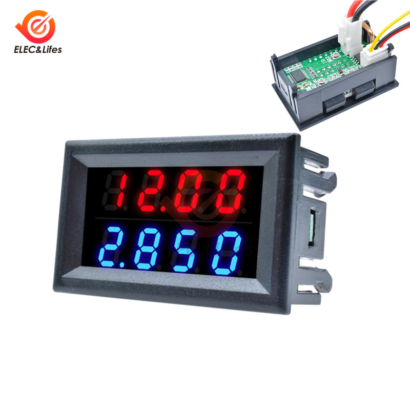 Mini Digital DC Voltmeter Ammeter Detector Adjustable DC 200V 100V 10A Voltage Current Meter Panel Power Supply Dual LED Display