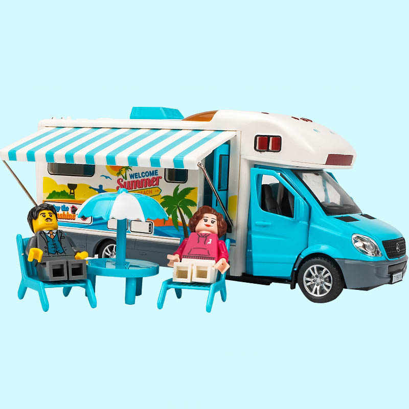 1/32 Alloy Recreational Vehicle RV Trailer Caravan Travel Model Toy Cars Diecast Sprinter Bus Toys Car For Children Kids Gift