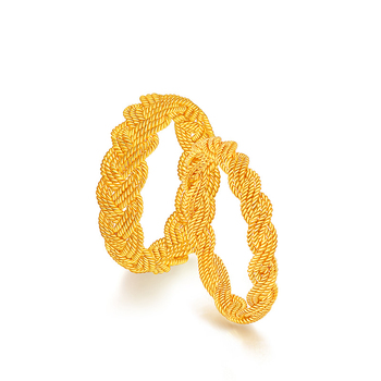 Solid Pure 24K Yellow Gold Ring Lover's Ring Rope Wedding Ring Band 1