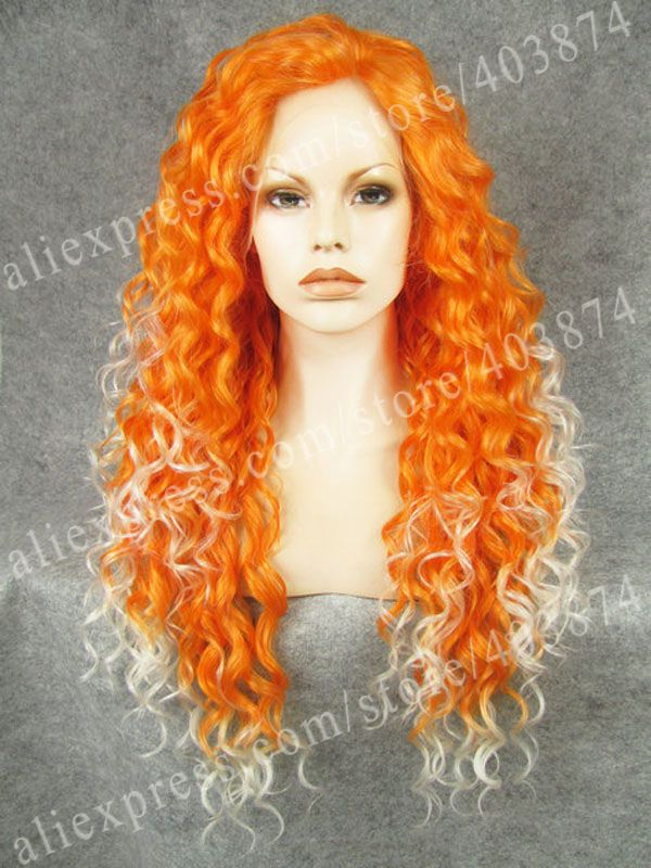 ФОТО High Quality Orange Mixed White Two Tone Cosplay Synthetic Lace Front Wig