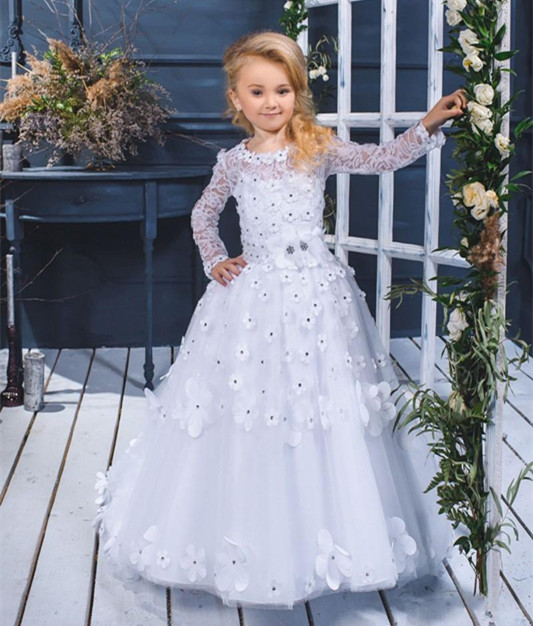 2018 New Design Girls Pageant Dresses Ball Gown Lace Appliqued Beading Kids Long Sleeve Pageant Party Dress Communion Gown 4pcs new for ball uff bes m18mg noc80b s04g