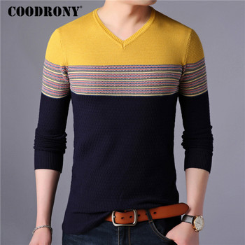 COODRONY Sweater Men Streetwear Fashion Striped Knitwear Autumn Winter Cotton Wool Pullover Men Slim Fit V-Neck Pull Homme 91027