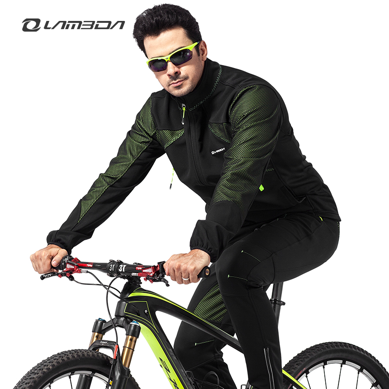 Autumn and winter thermal fleece cycling clothing windproof and waterproof cycling jersey set bike biking clothes men