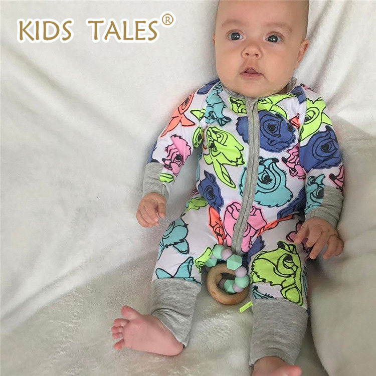 1 PCS Kids tales Brand Baby Romper Long Sleeves 100% Cotton Baby Pajamas Cartoon Printed Newborn Baby Girls Boys Clothes