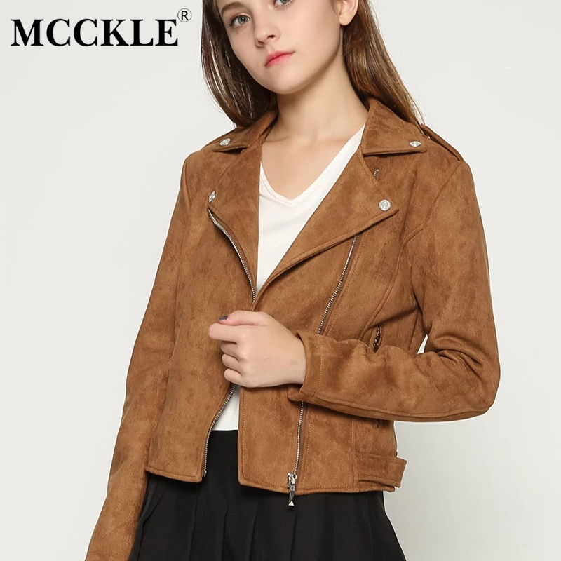 MCCKLE Women   Suede   Faux   Leather   Jacket 2018 New Autumn Zipper Motorcycle Slim Jacket Female Casual Soft   Leather     Suede   Short Coat