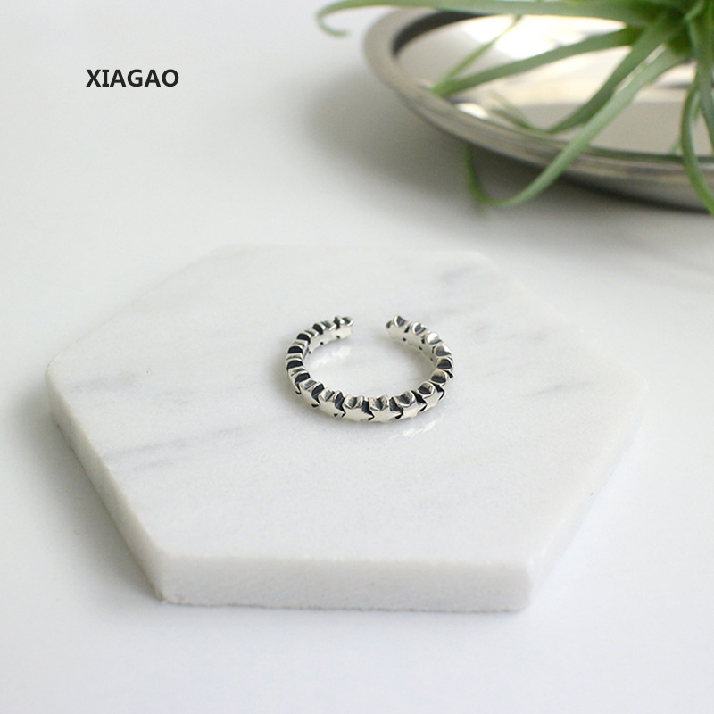 XIAGAO 925 Sterling Silver Open Rings Star Track Elegant Cross Ring Jewelry for Anniversary Adjustable CNR102