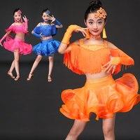 Die neue quaste kinder Latin dance kostüme frauen üben service Latin dance kleid leistung kleid tanzperformance matc
