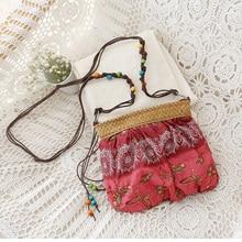 women bag Bohemian woven straw summer messenger bag candy color floral cute beach bag cross body small bag vintage handbags