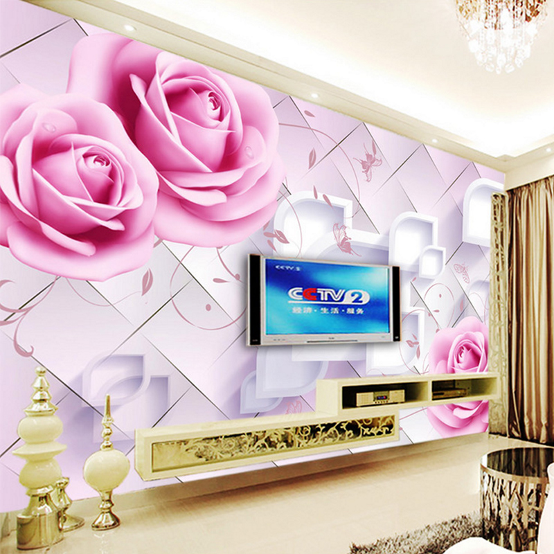 Custom Photo Wall Mural Modern design 3d Room Wallpaper for Walls 3d Romantic Painting Pink Rose Floral Living Bedroom Fresco pink romantic sakura reflection large mural wallpaper living room bedroom wallpaper painting tv backdrop 3d wallpaper