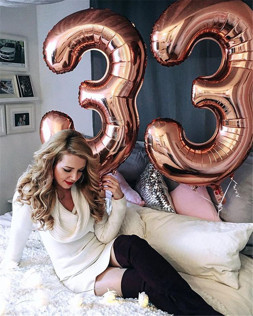 2pcs per lot Giant Rose Gold 30th Number Balloon congratulate 30 old Birthday Party Decoration For adult's 30th birthday party