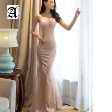 Evening dresses female 2019 new fishtail long show car model perspective loaded nightclub party sexy dress