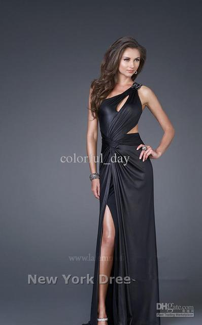 NEW Details Sheath One Shoulder Side Slit Sweep Train Evening Dresses Prom Gowns