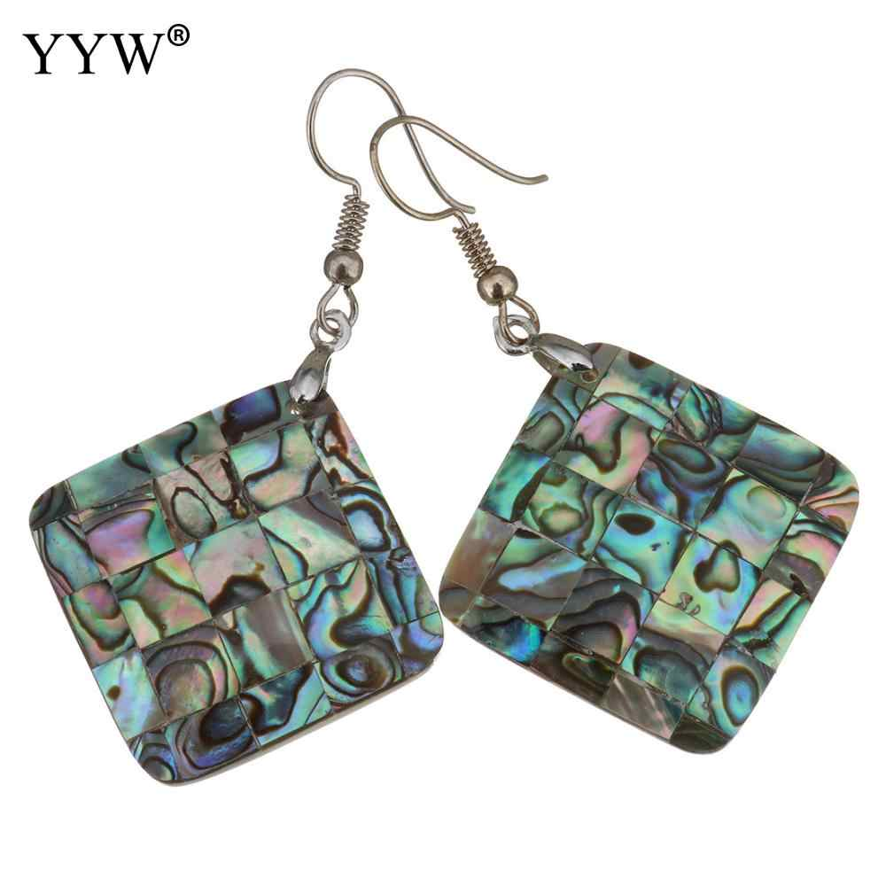 Shell Pendant Earrings Brass with Abalone Shell silver color plated for woman 56mm Sold By Pair