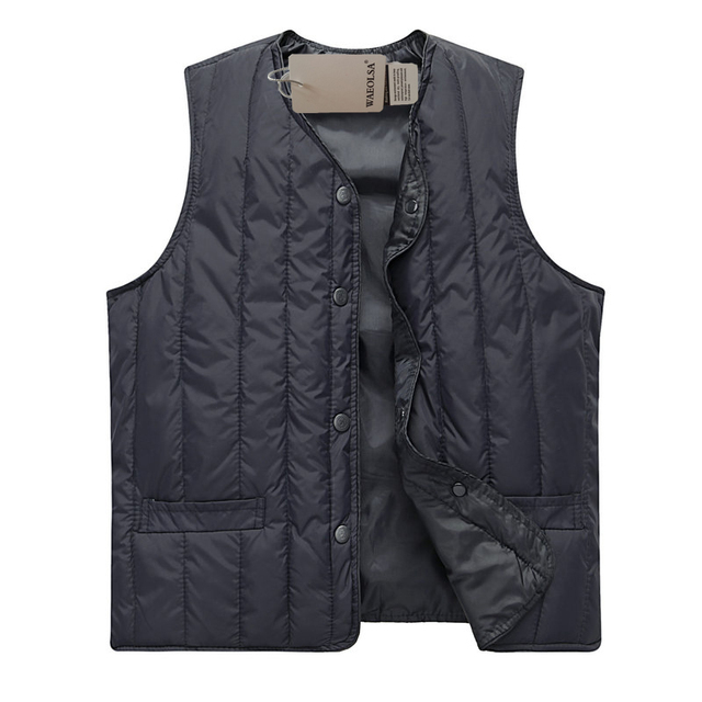 4b789c2624 WAEOLSA Autumn Man Casual Herringbone Vest Army Green Navy Blue Camouflage  Puffer Waistcoat Mens Quilted Gilet Father Basic Vest