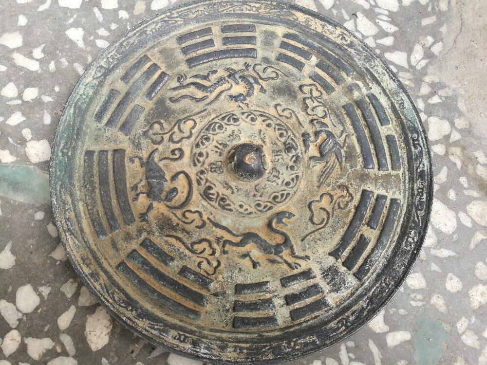 CHINESE FOLK OLD  Bronzeware Mirror Feng Shui Gossip Largescale Bronze Mirror