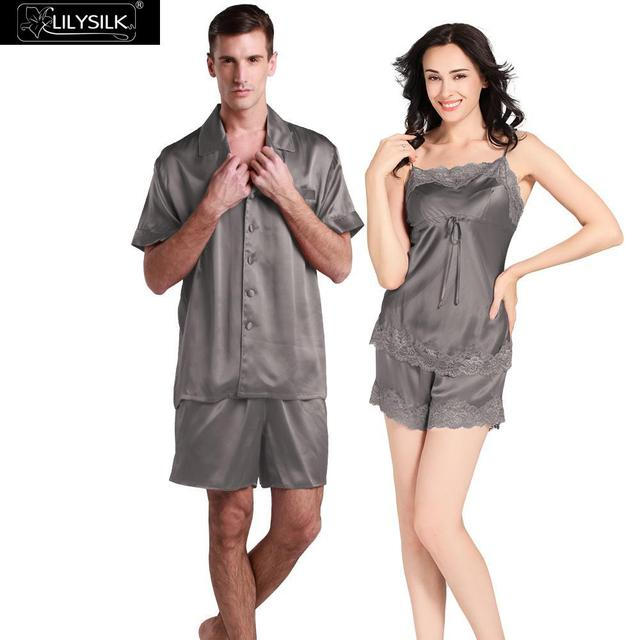 933173f516 Lilysilk Silk Sleepwear Couple Set Women Camisole Set With Men Short Sleeve  Short Pants Suit Loungewear