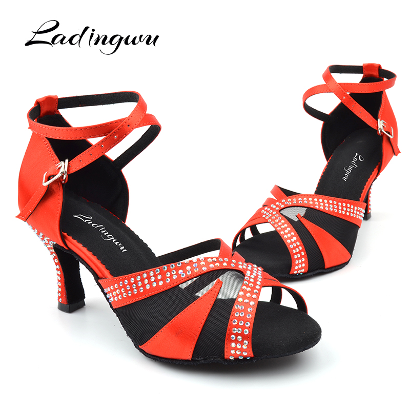 Ladingwu Ballroom Dance Shoes For Girls Glitter Rhinestone Latin Dance Shoes Women Satin Red Brown And Breathable Mesh Sandals