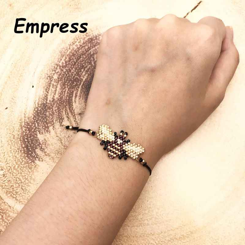 FAIRYWOO New Fashion Woman Cute Animals Bee Boho Charm Bangles Crystal Bracelets Imported Glass Miyuki Beads Rope Adjustable