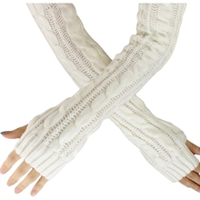Fashion Winter Women Men Gloves Unisex Arm Warmer Long Fingerless knit Mitten white