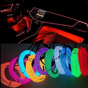 1M 2M 3M 5M oświetlenie wnętrza samochodu taśma LED dekoracja Garland lina stalowa linia metra elastyczna lampa neonowa z napędem papierosowym tanie i dobre opinie LYMOYO CN (pochodzenie) Oświetlenie wewnętrzne Brak 12 v 0 15kg Uniwersalny Universal Car Decoration Lights Car Neon Light
