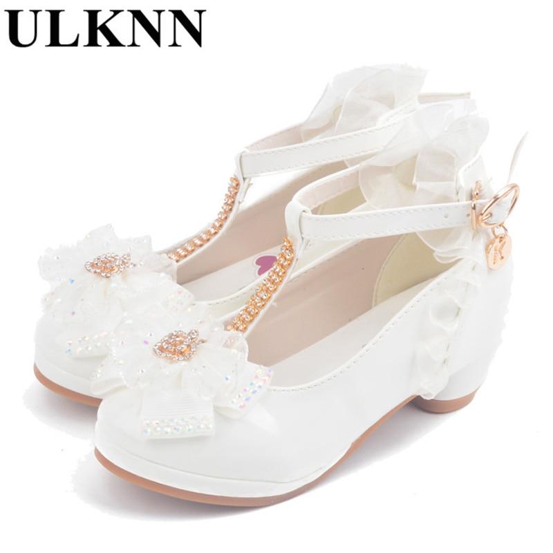 ULKNN Girls Sandals high heel pink leather Buckle Strap children s  Gladiator Bowtie White Shoes size 26-37 soft Kid shoes enfant 5d0de904758e